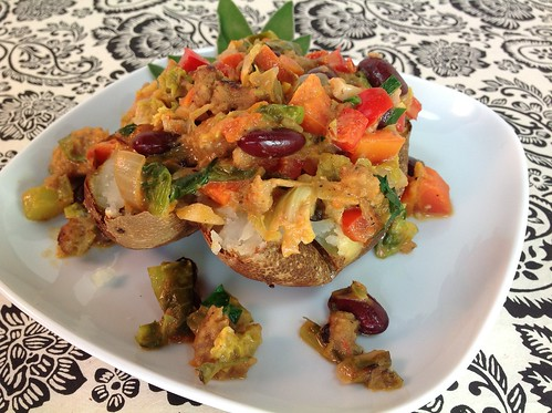 Baked Potatoes w/ Creamy Veggies & Sausage