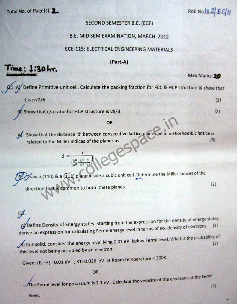 NSIT Question Papers 2012 – 2 Semester - Mid Sem - ECE-115