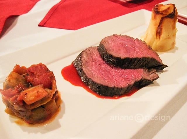 Tivoli's Restaurant: CAB Beef Tenderloin, roasted, grain-fed, 9 vegetable ragout, applewood smoked Yukon gold gratin potatoes/Best Entrée winner