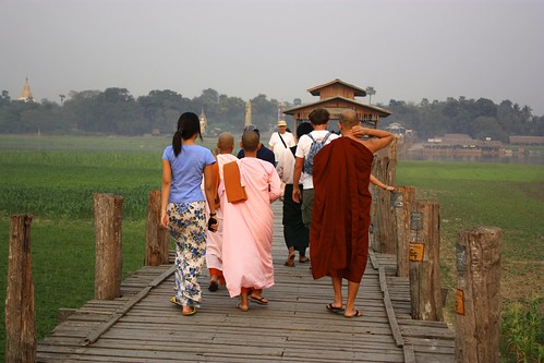 Monks and novice nuns walking together