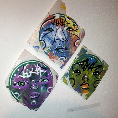 My stickers in the SLAP show at Con Artist Gallery by eL hue V