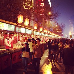 The famous Beijing Night Market where you can get scorpion, silkworm, testicles, snake, and many other delicacies for the refined pallet!