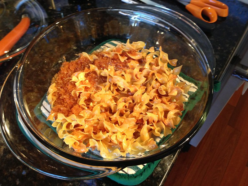 Add noodles to casserole