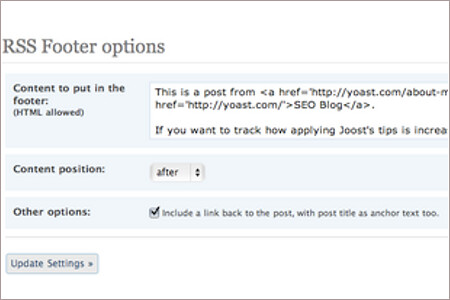 Placing Content Only in RSS Feed