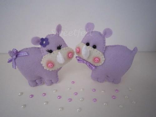 ♥♥♥ Sra. e Sr. Rinoceronte ... by sweetfelt \ ideias em feltro