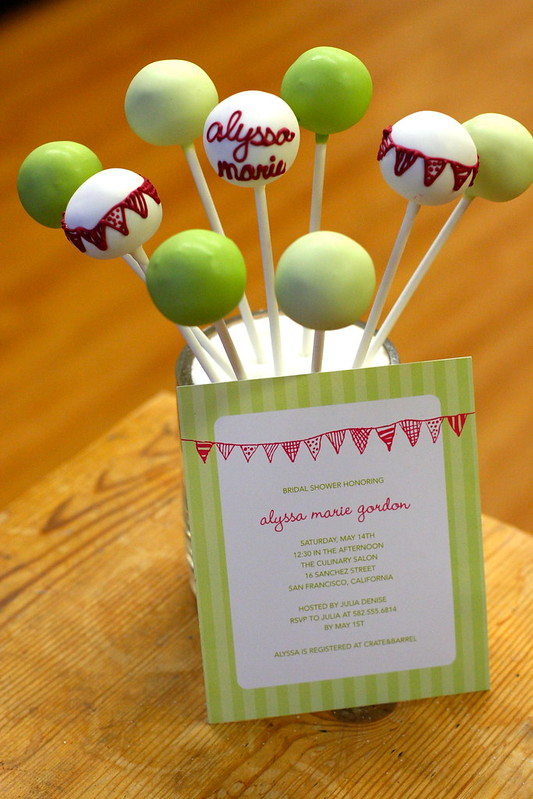 Bridal Shower Invitation from Wedding Paper Divas with matching cake pops with bunting theme and color matching.