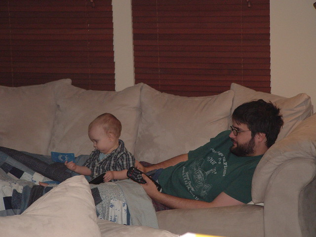 Daddy and Eli watching tv