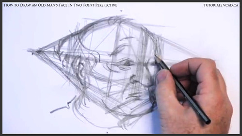 learn how to draw an old man's face in two point perspective 014