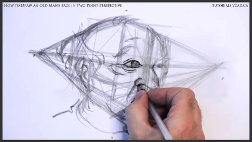 learn how to draw an old man's face in two point perspective 020