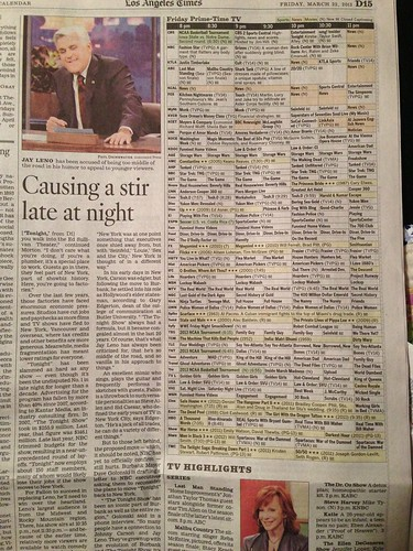 Los Angeles times TV listings