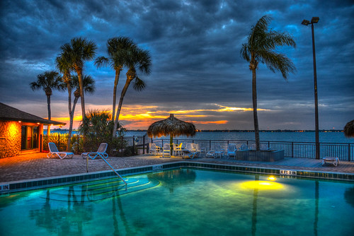 trees sunset usa sun tree beach pool set night evening bay us unitedstates florida dusk side melbourne palm fl melbournebeach fla hdr mygearandme blinkagain photographyforrecreation