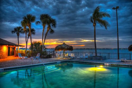trees sunset usa sun tree beach pool set night evening bay us unitedstates florida dusk side melbourne palm fl melbournebeach fla hdr mygearandme blinkagain photographyforrecreation