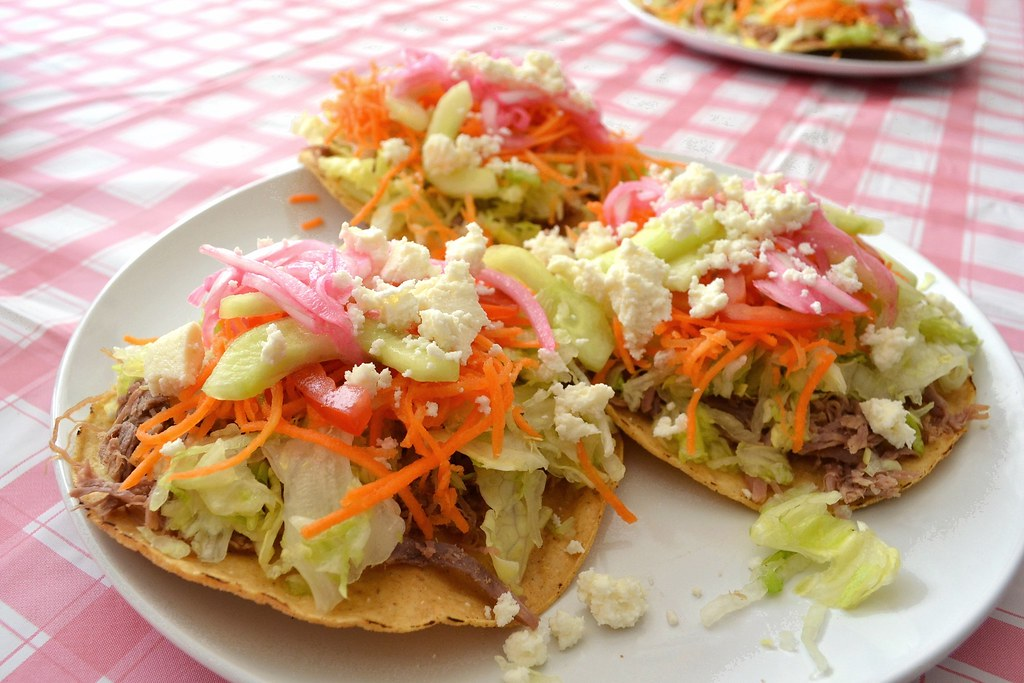 Shredded beef tostadas – Tostadas de carne deshebrada | tales of ...
