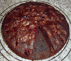 gluten free choc cherry rum cake whole