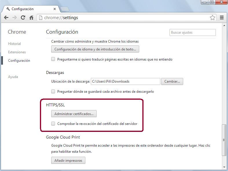 Opciones Google Chrome
