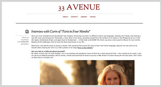 Interview with Carin Olsson (Paris in Four Months) on 33 Avenue