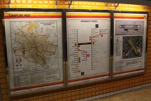 Informational signage at Timpuri Noi station on the Bucharest Metro