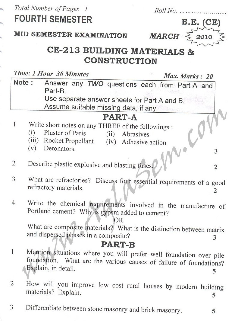 DTU Question Papers 2010 – 4 Semester - Mid Sem - CE-213