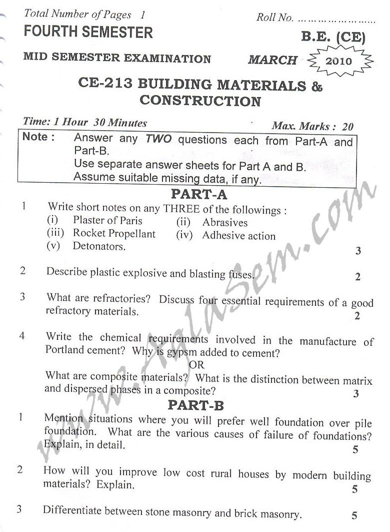 DTU Question Papers 2010 – 4 Semester - Mid Sem - CE-213