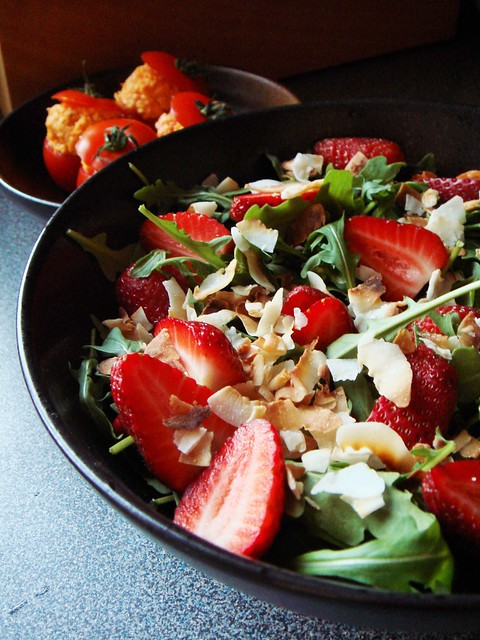 Strawberry Arugula Coconut Salad