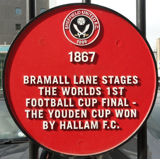 Photo of Hallam Football Club red plaque