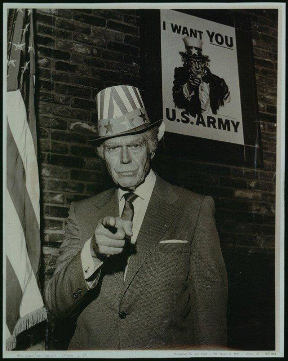 Walter Botts, the man who modeled Uncle Sam's pose for J.M. Flagg's famous poster. Photograph by David Dreier, 1970.