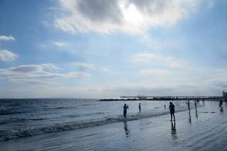 Image of Coney Island Beach near Coney Island. coneyisland brooklyn newyorkcity nyc september ruleofthirds beach newyorkharbor atlanticocean shore surf sand sky