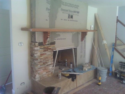 Natural stone fireplace in process