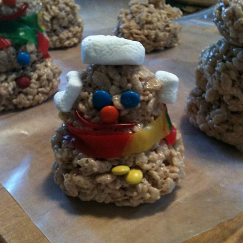 Marie-Therese's rice crispy marshmallow snowman!
