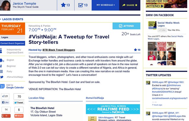 #smwVisitNaija #VisitNaija: A Tweetup for Travel Story-tellers