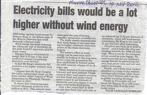 Supporting the Economics of Wind Energy Mourne Observer 14th Nov 2012 by CadoganEnright