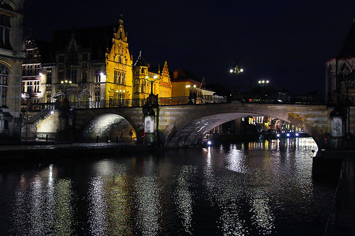 bridge architecture reflections river colorful belgium iso oldtown colorfulhouses guent canon5dmarkii nightinguent