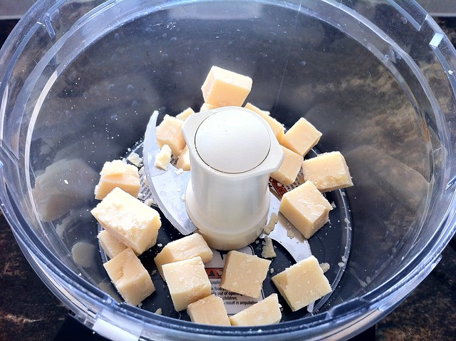 Cubed Parmesan Cheese in Food Processor