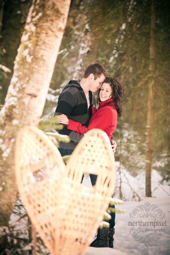 Winter Engagement Session Snowshoes