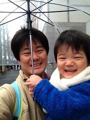 朝の散歩(雨で傘) 2013/2/27