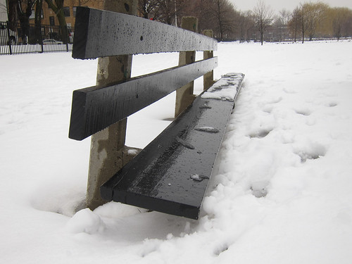 The snow and slush piled up in Winnemac Park (Rex Babiera on Flickr)