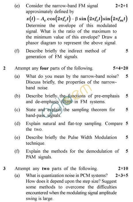 UPTU B.Tech Question Papers - EC-607-Communication Engineering