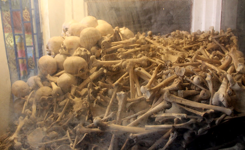 Piles of Bones in the Killing Cave