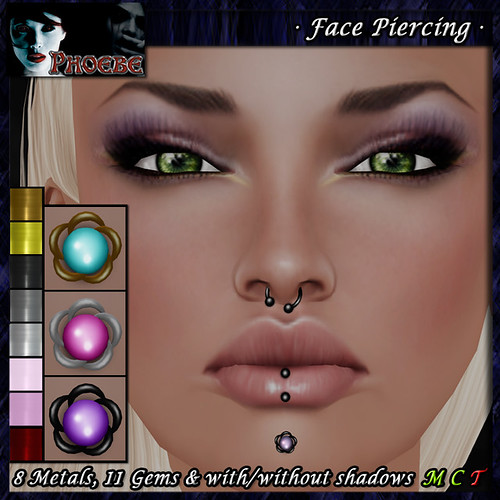 *P* Woman Face Piercing Q8 ~8 Metals-11 Gems~