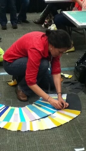 Sherri composing her quilt