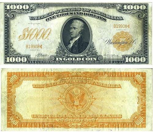 1000 dollar gold certificate