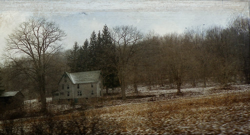 trees winter house snow cold home farmhouse rural photoshop landscape time kodak pennsylvania country driveby textured doldrums distressedjewell