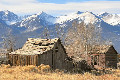 blue winter brown mountains abandoned architecture buildings colorado unitedstates barns historic rockymountains sangredecristomountains westcliffe silvercliff