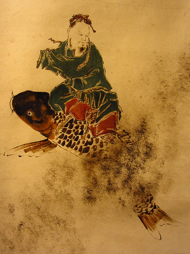 japanese ink painting -- daoist immortal on his carp