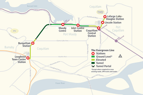 Evergreen Line route with new station names