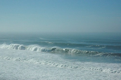 Pacific Ocean waves crash in like a giant clock, blue forever, San Gregorio State Beach, California, USA by Wonderlane