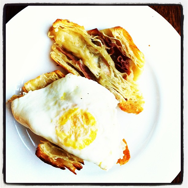 prosciutto and gruyère croissant with fried egg via Instagram