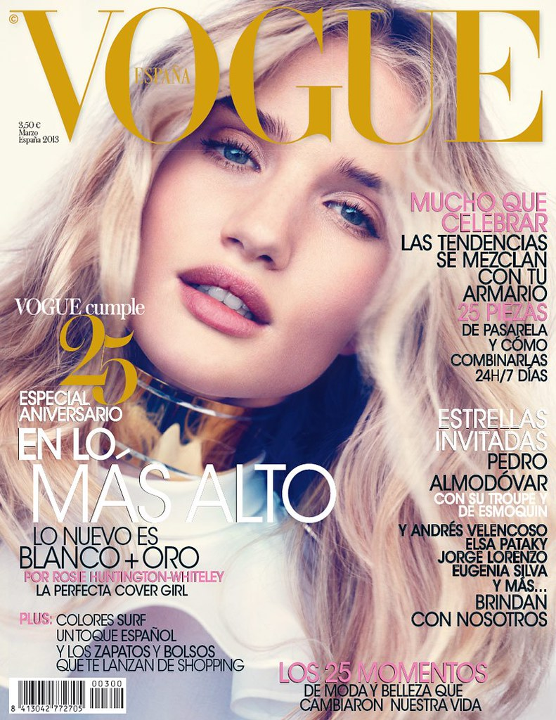 Rosie Huntington-Whiteley Magazine Cover Vogue Spain March 2013