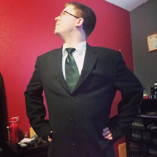 Suited up. Adam's new band concert suit.