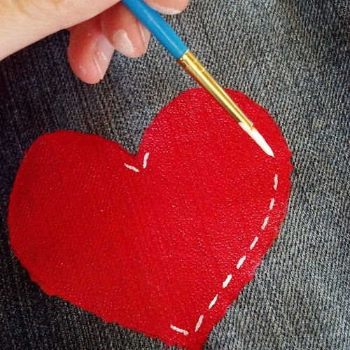 Red heart jeans in progress